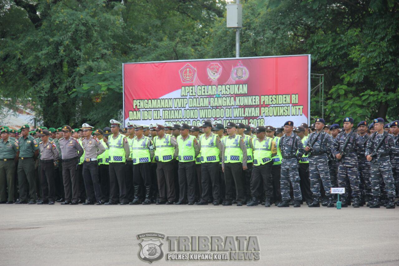 Apel Gelar Pasukan Pengamanan VVIP Dalam Rangka Kunjungan Kerja Presiden RI dan Ibu HJ. Iriana Joko Widodo di Wilayah Provinsi  NTT.